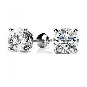 1.1 Ct Round Diamond Stud Earring 14K White Gold Stud Earrings