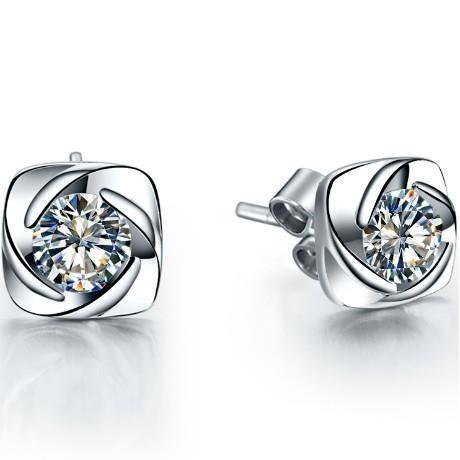 1.1 Ct Round Solitaire Diamond Stud Earring 14K White Gold Stud Earrings