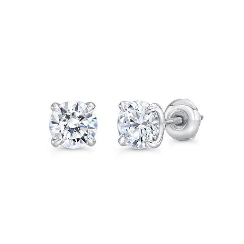 1.1 Ct Solitaire Diamond Stud Earring 14K White Gold Stud Earrings