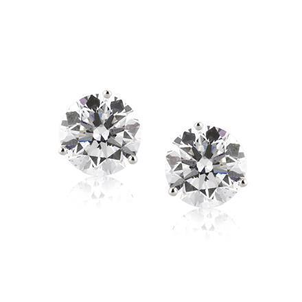 1.1 Ct Solitaire Round Cut Diamond Stud Earring 14K White Gold Stud Earrings