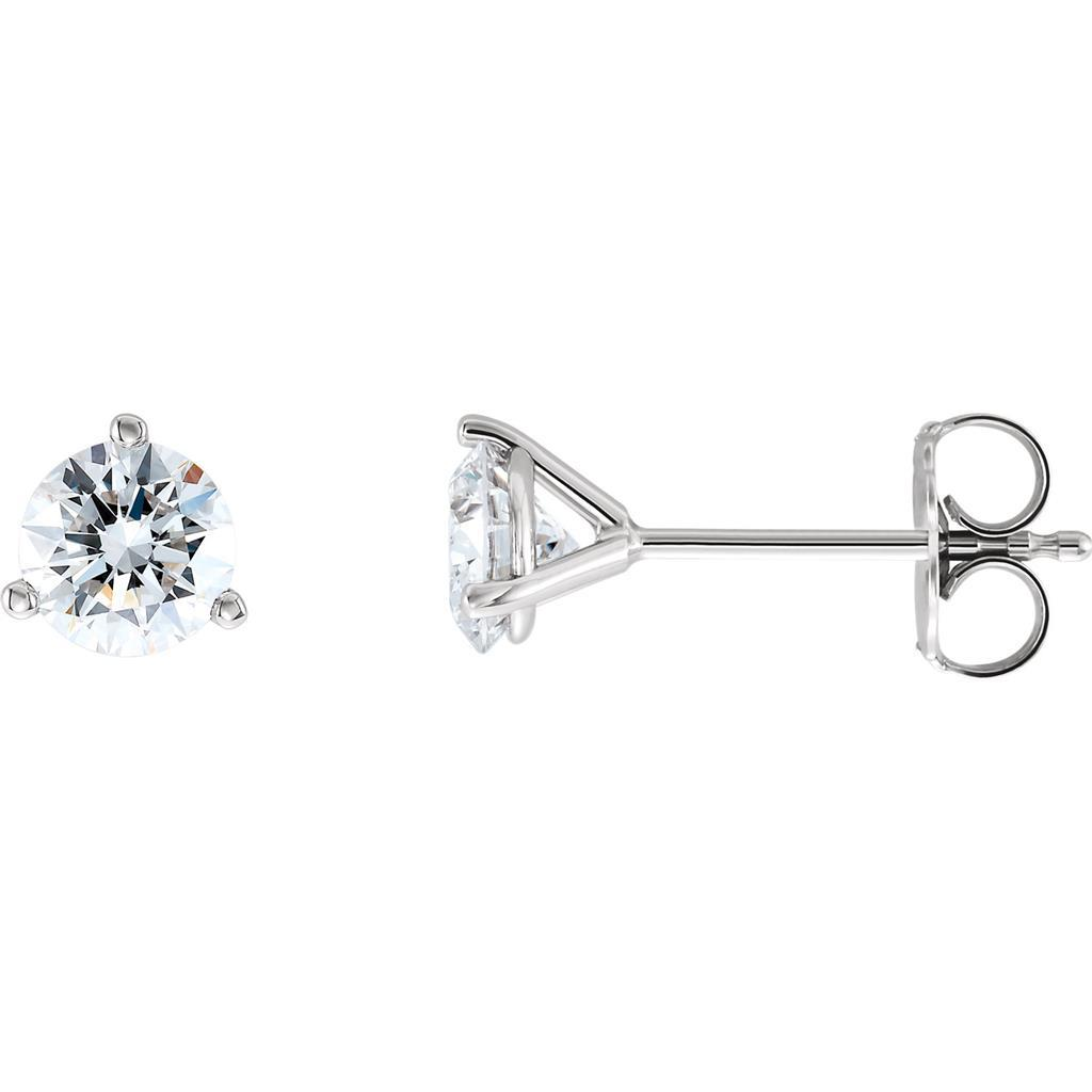 1.1 Ct Three Prong Set Solitaire Round Diamond Stud Earring 14K White Gold Stud Earrings