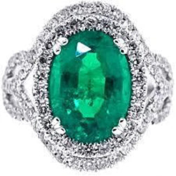 11.25 Carats Oval Cut Emerald Diamond 14K White Gold Anniversary Ring