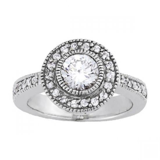 1.10 Carats Round Diamonds Engagement Anniversary Halo Ring Solid Gold 14K Halo Ring