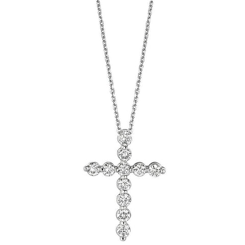 1.11 Carat Round Brilliant Diamond White Gold Cross Necklace Jewelry Necklace