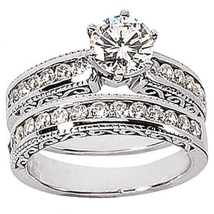 1.11 Ct. Gorgeous Diamonds Engagement Ring Set Gold Ring Engagement Ring Set