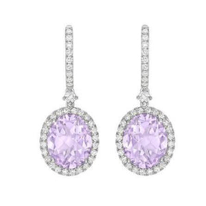 11.20 Carats Amethyst And Diamonds Dangle Earrings 14K Gold White Gemstone Earring