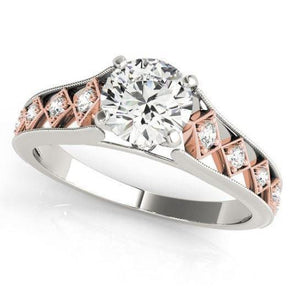 1.13 Carats Diamond Engagement Ring New Two Tone Rose Gold Engagement Ring