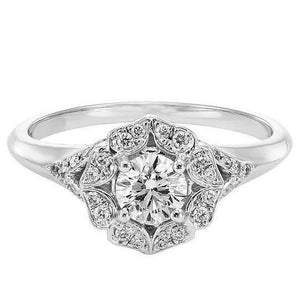 1.15 Carats Round Diamond Engagement Ring White Gold 14K Engagement Ring