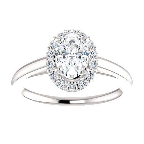 1.15 Ct Oval Center Diamond Engagement Ring 14K White Gold Halo Ring