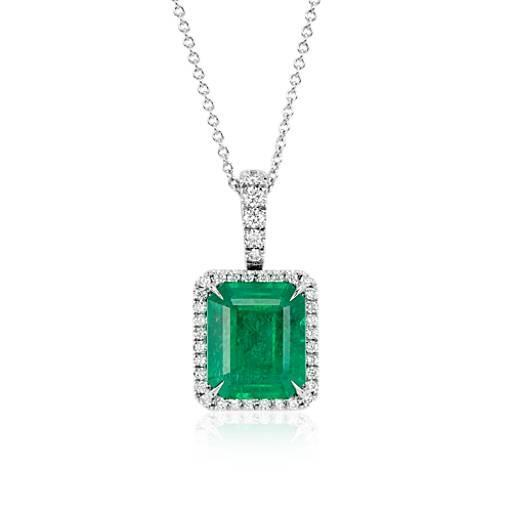 11.50 Carats Prong Set Emerald And Diamonds Pendant 14K White Gold Pendant