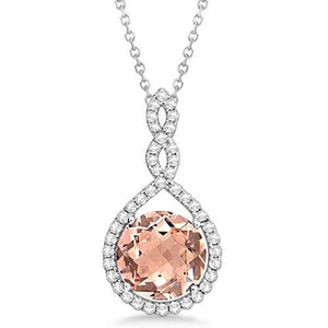 11.50 Ct Morganite And Diamonds Pendant With Chain White Gold 14K Gemstone Pendant