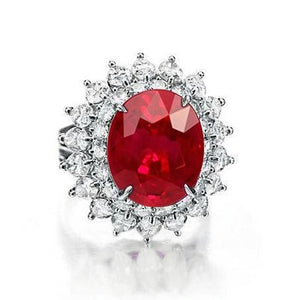 11.75 Carats Red Ruby With Diamonds Ring 14K White Gold Gemstone Ring