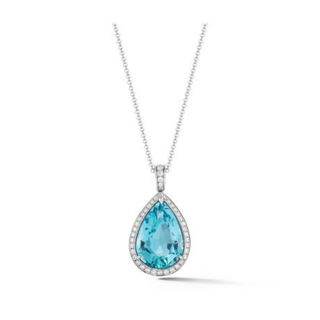 11.75 Ct Pear Aquamarine With Round Diamonds Pendant 14K White Gold Gemstone Pendant