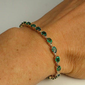12 Carats Emerald Gem-Stone With Diamond Tennis Bracelet Yellow Gold 14K Gemstone Bracelet