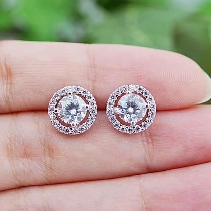 1.2 Ct 14K White Gold Round Diamond Stud Halo Earring Halo Stud Earrings