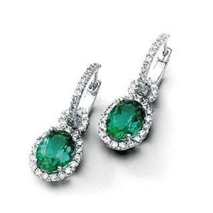 12 Ct Green Tourmaline And Diamonds Dangle Earring Gemstone Earring