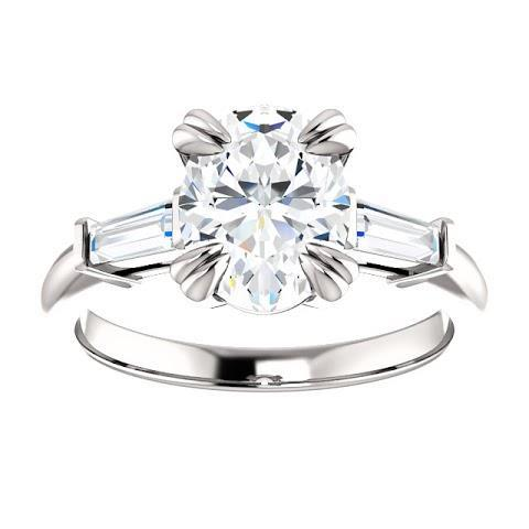 1.2 Ct Oval Center Diamond Three Stone Ring 14K White Gold Three Stone Ring