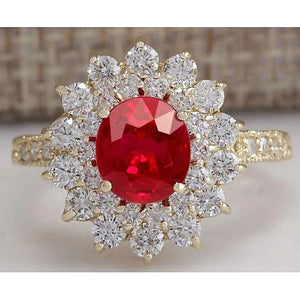 12 Ct Red Ruby With Diamonds Wedding Ring 14K Yellow Gold Gemstone Ring