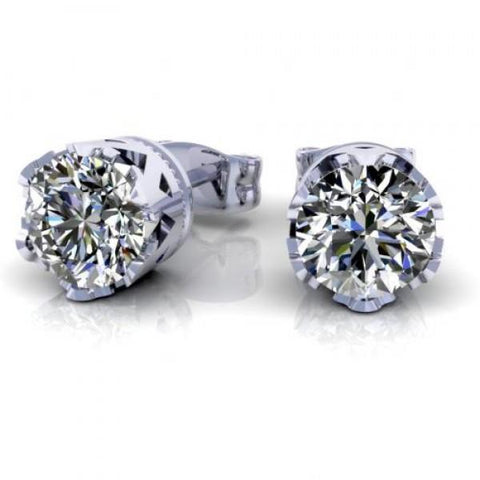 1.2 Ct Round Cut Diamond Stud Earring 14K White Gold Stud Earrings