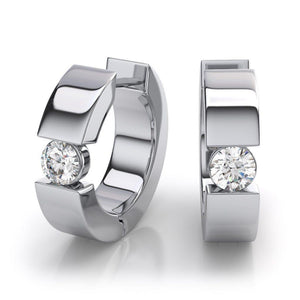 1.2 Ct Round Diamond Earring 14K White Gold Hoops Hoop Earrings