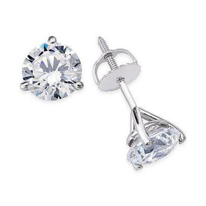 1.2 Ct Round Solitaire Diamond Stud Earring 14K White Gold Stud Earrings