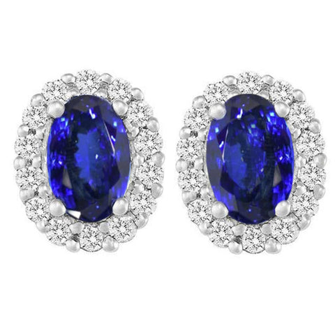 12.00 Ct Tanzanite With Diamonds Studs Earrings 14K White Gold New