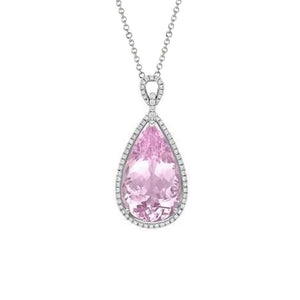 12.50 Ct Pear Cut Pink Kunzite With Diamond Pendant White Gold 14K