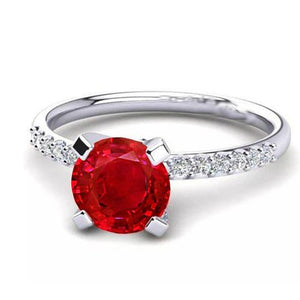 1.20 Carats Red Ruby And Diamond Ring White Gold 14K Gemstone Ring
