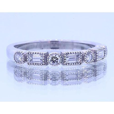 1.20 Carats Round & Baguettes Diamond Anniversary Band White Gold 14K Band