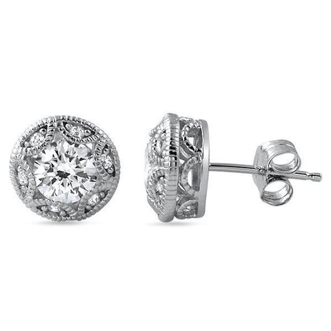 1.20 Ct Brilliant Cut Diamond Stud Halo Earring White Gold Fine Jewelry Halo Stud Earrings