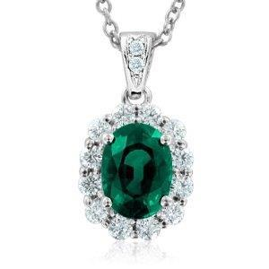 12.00 Carats Prong Set Emerald And Diamonds Pendant 14K White Gold Pendant