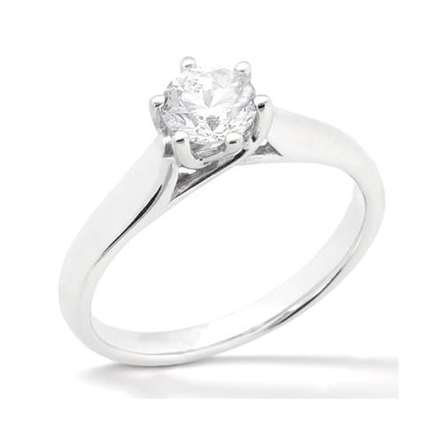 Solitaire 6 Prong Jewelry Ring 0.75 Carat Genuine Diamonds