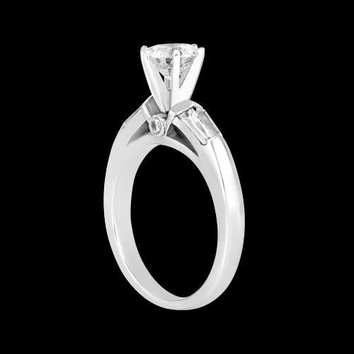 Round And Baguette Diamonds 1.25 Carat Three Stone Ring White Gold New