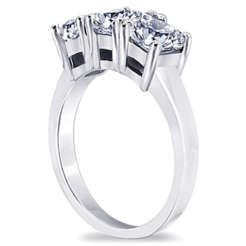 Three Stone Ring 3 Carat Princess Diamonds Three Stone Engagement Ring White Gold 14K