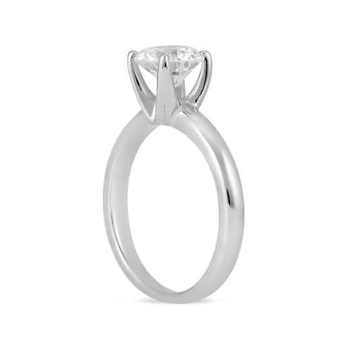 Solitaire Engagement Ring 1.5 Carat Round Brilliant Diamonds White Gold 14K