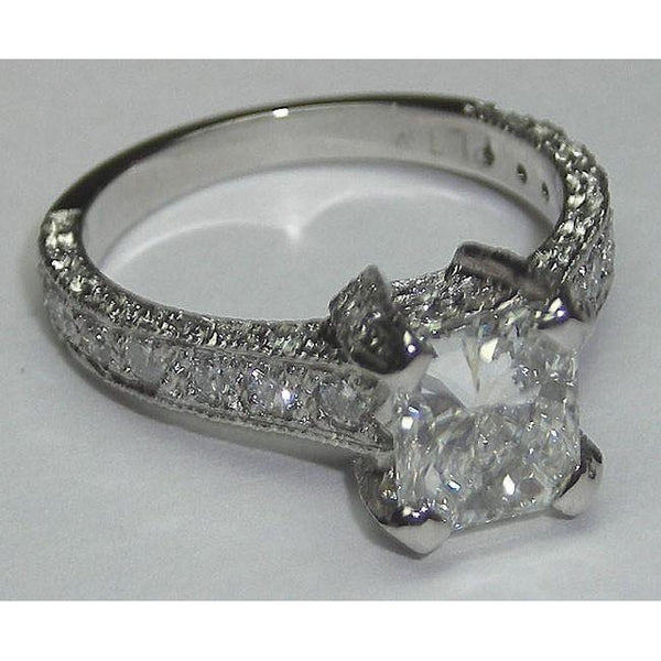 3.51 Cts Diamond Engagement Ring And Band Set Gold New