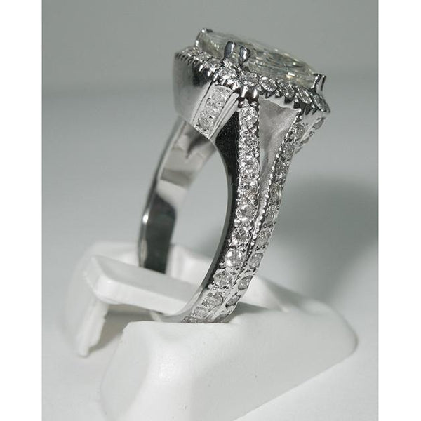 Halo Ring 4 Carat Cushion Center Diamond Halo Ring White Gold Jewelry