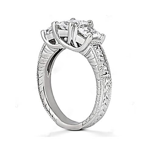 2.12 Ct. Diamond Ring Three Stone Engagement Diamond Ring Princess And Round Brilliants