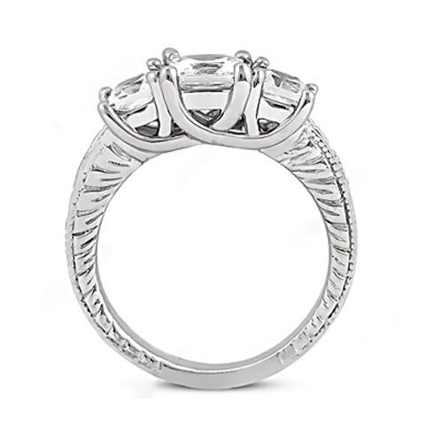 Three Stone Ring Diamond Three Stone Engagement Ring Vintage Style 2.12 Ct. White Gold