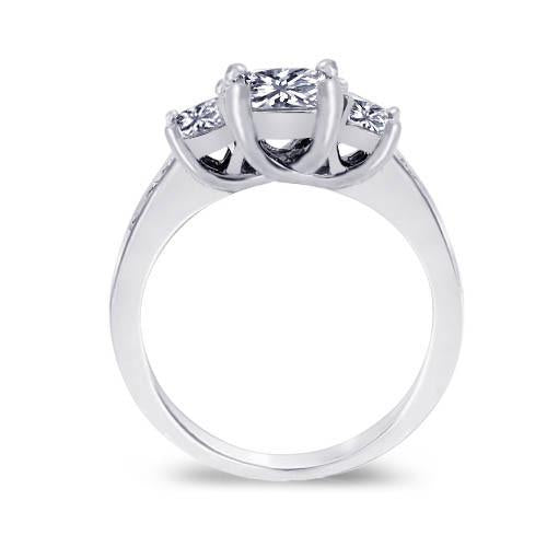 1.91 Carat Princess Diamonds Engagement Ring White Gold 14K New