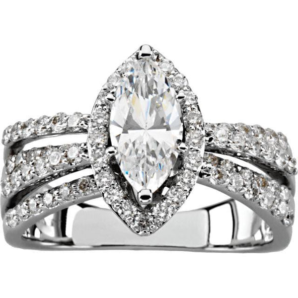 Halo Ring 2.75 Carat Marquise And Round Diamond Engagement Ring White Gold 14K