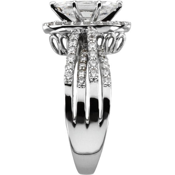 2.75 Carat Marquise And Round Diamond Engagement Ring White Gold 14K Halo Ring