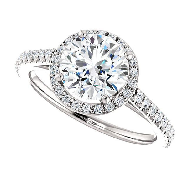 1.85 Carat Round Brilliant Diamond Halo Ring White Gold 14K