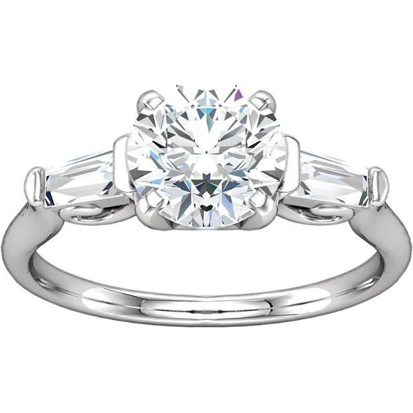 2 Ct Round And Baguette Diamond 3 Stone Engagement Ring White Gold Three Stone Ring