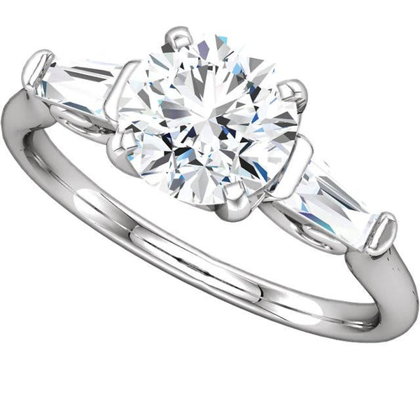 2.01 Carat Round And Baguettes Diamond 3 Stone Engagement Ring White Gold 14K