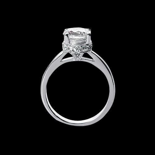 2.41 Carat Round Diamond Engagement Ring Solitaire With Accents Gold Solitaire Ring with Accents