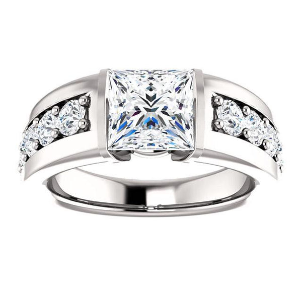 Anniversary Ring Princess And Round Diamond Anniversary Ring 2.41 Carat White Gold 14K