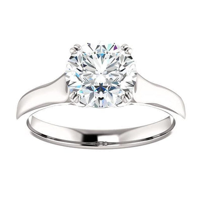 Solitaire Ring 2 Carat Round Diamond Solitaire Ring White Gold 14K