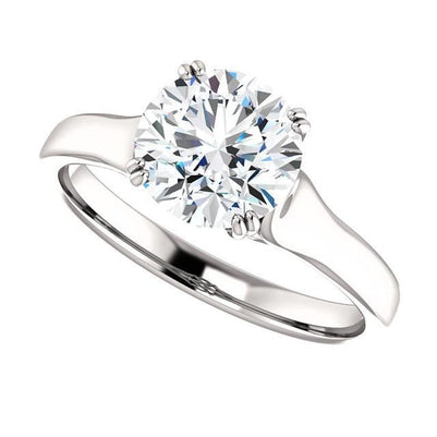 Prong Setting 2.01 Carat E Vvs1 Round Brilliant Diamond Solitaire Ring Gold White 14K