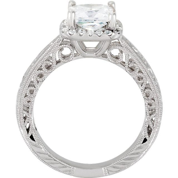 Prong Set 1.71 Carat Cushion Diamond Engagement Ring Solid White Gold 14K